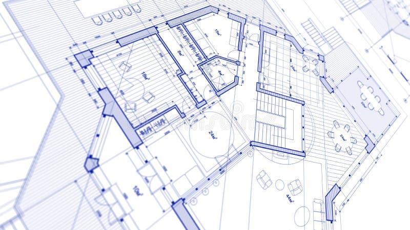Σχέδιο αρχιτεκτονικής: σχέδιο σχεδιαγραμμάτων - απεικόνιση ενός νεαρού δικυκλιστή σχεδίων διανυσματική απεικόνιση
