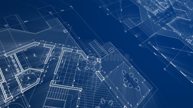 Σχέδιο αρχιτεκτονικής: σχέδιο σχεδιαγραμμάτων - απεικόνιση ενός νεαρού δικυκλιστή σχεδίων ελεύθερη απεικόνιση δικαιώματος