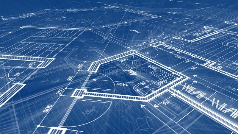 Σχέδιο αρχιτεκτονικής: σχέδιο σχεδιαγραμμάτων - απεικόνιση ενός σχεδίου απεικόνιση αποθεμάτων