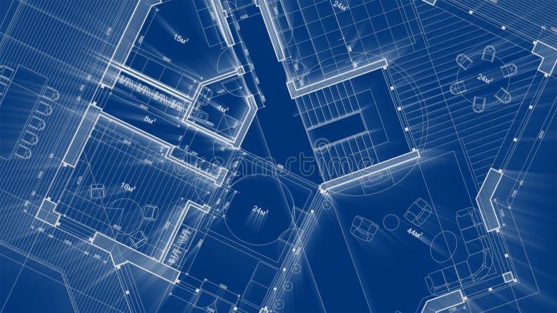 Σχέδιο αρχιτεκτονικής: σχέδιο σχεδιαγραμμάτων - απεικόνιση ενός σύγχρονων κατοικημένου κτηρίου σχεδίων/μιας τεχνολογίας, βιομηχαν ελεύθερη απεικόνιση δικαιώματος