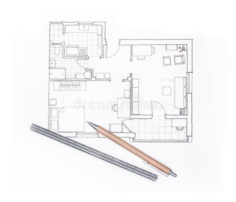 Σχέδιο αρχιτεκτόνων για ένα εσωτερικό σχέδιο διαμερισμάτων απεικόνιση αποθεμάτων