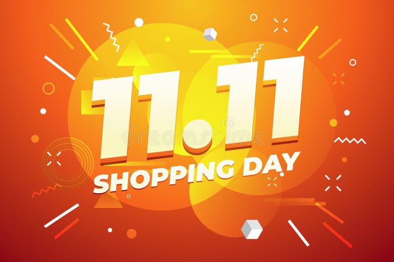 11 11 σχέδιο αφισών ή ιπτάμενων πώλησης ημέρας αγορών Σφαιρική πώληση παγκόσμιας ημέρας αγορών στο ζωηρόχρωμο υπόβαθρο απεικόνιση αποθεμάτων