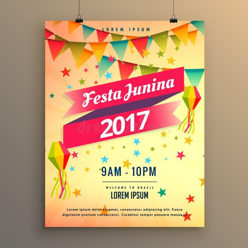 σχέδιο αφισών εορτασμού κομμάτων junina festa με το διακοσμητικό ele ελεύθερη απεικόνιση δικαιώματος