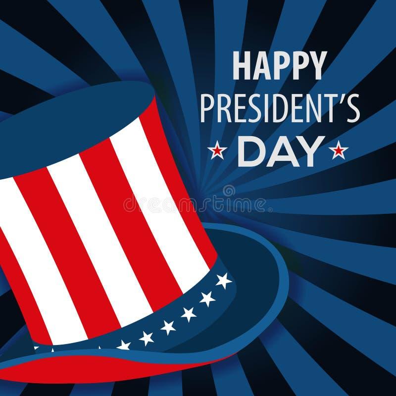 Σχέδιο αφισών ημέρας του ευτυχούς Προέδρου με το καπέλο θείων Σαμ επίσης corel σύρετε το διάνυσμα απεικόνισης ελεύθερη απεικόνιση δικαιώματος