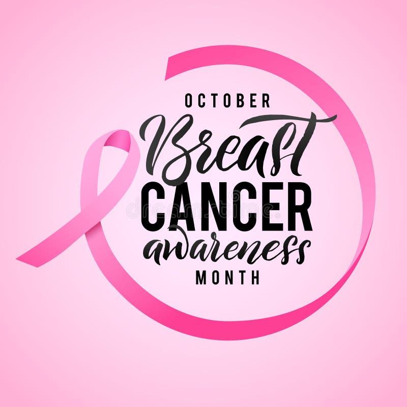 Σχέδιο αφισών καλλιγραφίας συνειδητοποίησης καρκίνου του μαστού Κορδέλλα γύρω από τις επιστολές Διανυσματική ρόδινη κορδέλλα κτυπ διανυσματική απεικόνιση