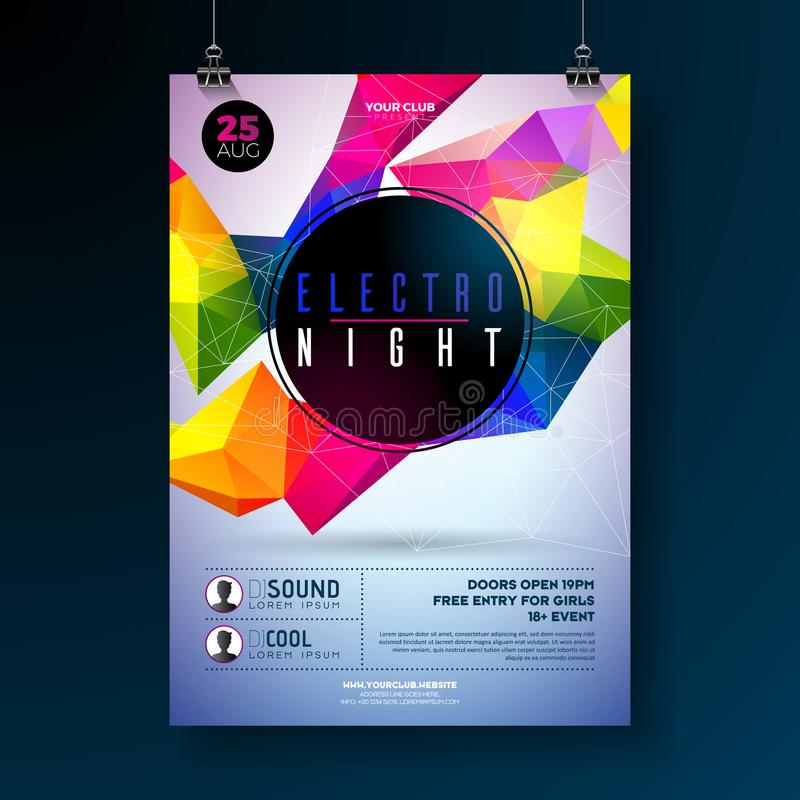 Σχέδιο αφισών κομμάτων χορού νύχτας με τις αφηρημένες σύγχρονες γεωμετρικές μορφές στο λαμπρό υπόβαθρο Ηλεκτρο λέσχη disco ύφους διανυσματική απεικόνιση