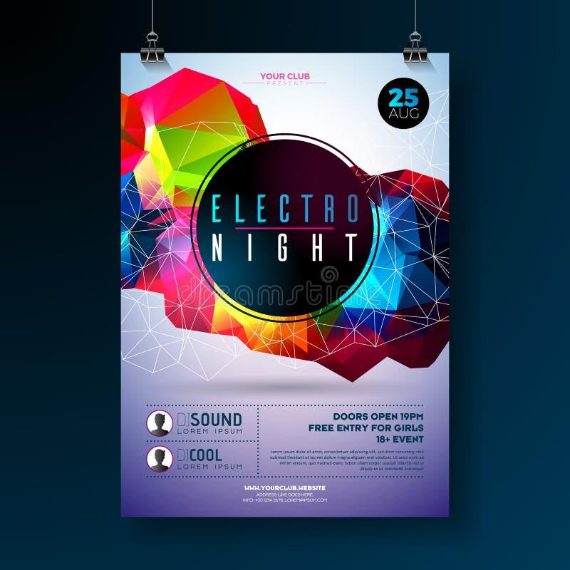 Σχέδιο αφισών κομμάτων χορού νύχτας με τις αφηρημένες σύγχρονες γεωμετρικές μορφές στο λαμπρό υπόβαθρο Ηλεκτρο λέσχη disco ύφους απεικόνιση αποθεμάτων