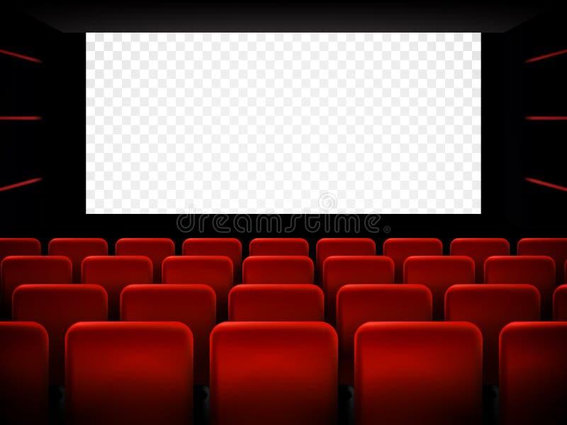 Σχέδιο αφισών πρεμιέρας κινηματογράφων κινηματογράφων με την άσπρη οθόνη διάνυσμα διανυσματική απεικόνιση