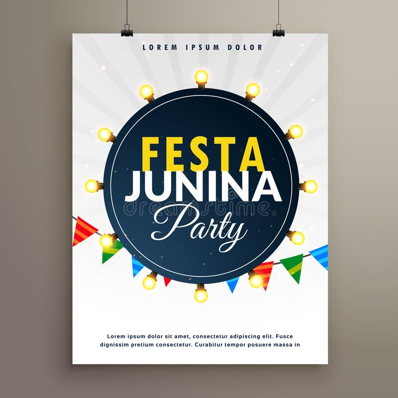 Σχέδιο αφισών junina Festa για το γεγονός κομμάτων απεικόνιση αποθεμάτων