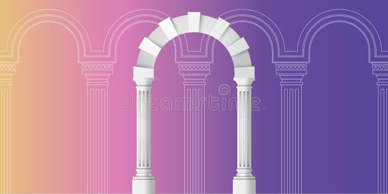 Σχέδιο αψίδων Artline στο αρχαίο διάνυσμα αρχιτεκτονικής υποβάθρου απεικόνιση αποθεμάτων