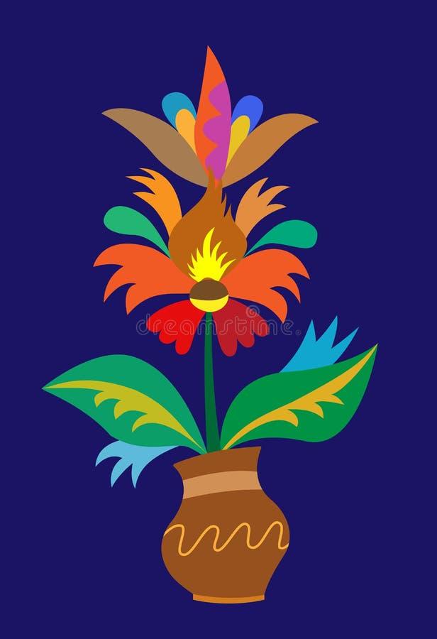 Σχέδιο βασισμένο στην ουκρανική λαϊκή παράδοση, δοχείο του flowers_ ελεύθερη απεικόνιση δικαιώματος