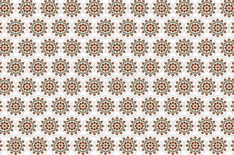 Σχέδιο για το άνευ ραφής άσπρο υπόβαθρο των κεντημένων ανθοδεσμών με τα τυποποιημένα πορτοκαλιά λουλούδια απεικόνιση αποθεμάτων