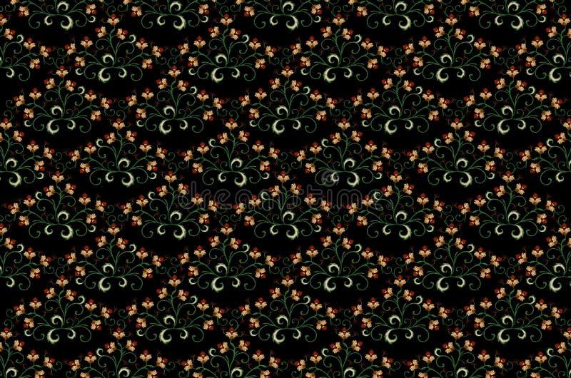 Σχέδιο για το άνευ ραφής μαύρο υπόβαθρο των κεντημένων ανθοδεσμών με τα τυποποιημένα πορτοκαλιά λουλούδια διανυσματική απεικόνιση