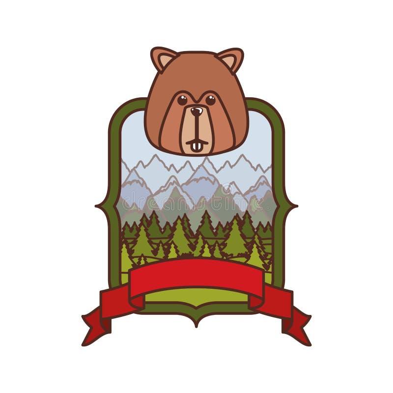 Σχέδιο για το δάσος κάστορας από τον Καναδά διανυσματική απεικόνιση
