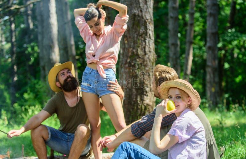 Σχέδιο για το τέλειο πικ-νίκ πεζοπορώ ημέρας Χαλαρώνοντας πικ-νίκ φίλων ή οικογενειών επιχείρησης Οι φίλοι απολαμβάνουν τη φύση δ στοκ φωτογραφία