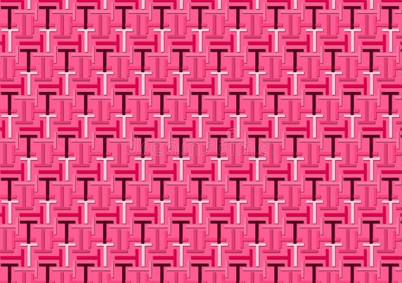 Σχέδιο γραμμάτων Τ στις διαφορετικές χρωματισμένες ρόδινες σκιές διανυσματική απεικόνιση