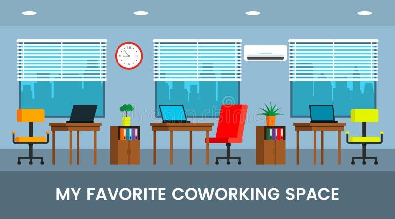 Σχέδιο γραφείων Coworking για τα εμβλήματα Ιστού, infographics με τη θέση κειμένων διανυσματική απεικόνιση
