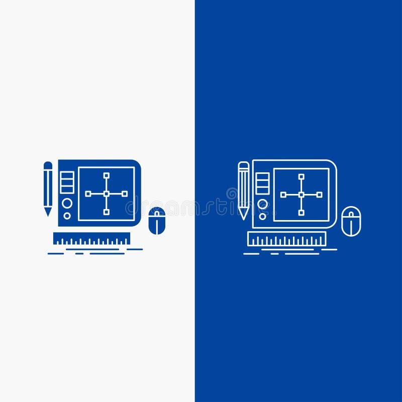 σχέδιο, γραφικός, εργαλείο, λογισμικό, Ιστός που σχεδιάζουν τη γραμμή και το κουμπί Ιστού Glyph στο μπλε κάθετο έμβλημα χρώματος  απεικόνιση αποθεμάτων