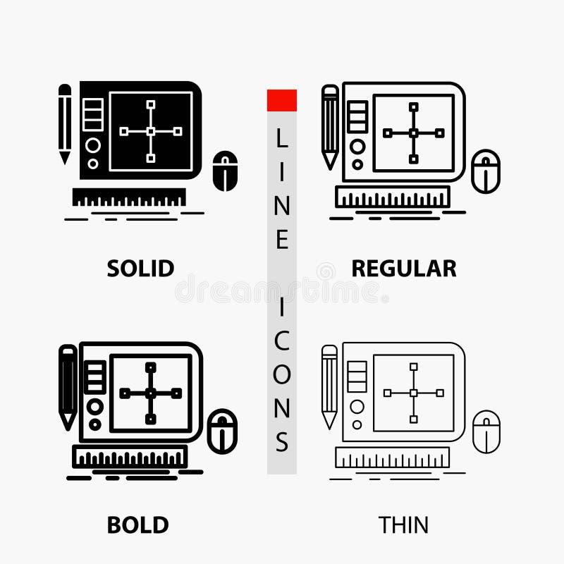σχέδιο, γραφικός, εργαλείο, λογισμικό, Ιστός που σχεδιάζουν το εικονίδιο στη λεπτά, κανονικά, τολμηρά γραμμή και το ύφος Glyph r διανυσματική απεικόνιση