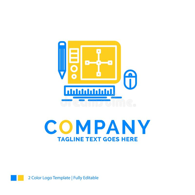 σχέδιο, γραφικό, εργαλείο, λογισμικό, Ιστός που σχεδιάζει μπλε κίτρινο Busin απεικόνιση αποθεμάτων