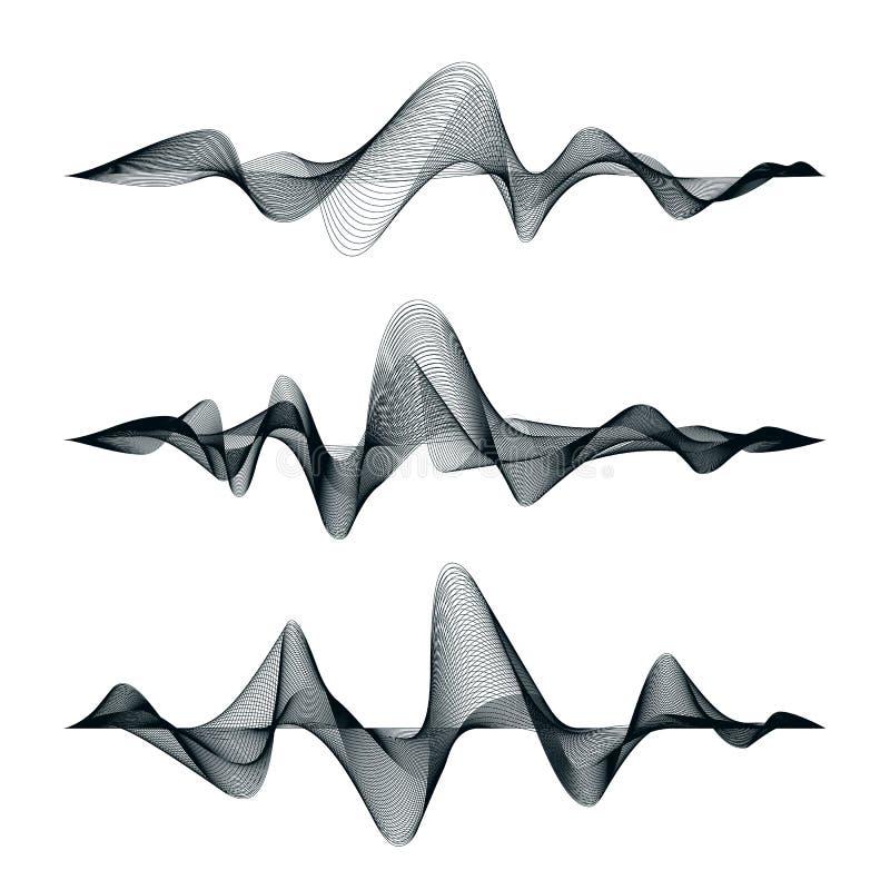 Σχέδιο διαδρομής υγιών κυμάτων Σύνολο ακουστικών κυμάτων αφηρημένος εξισωτής επίσης corel σύρετε το διάνυσμα απεικόνισης απεικόνιση αποθεμάτων