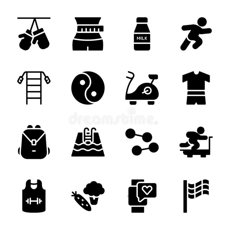 Σχέδιο διατροφής, αθλητικό συμπλήρωμα, εικονίδια διατροφών ελεύθερη απεικόνιση δικαιώματος