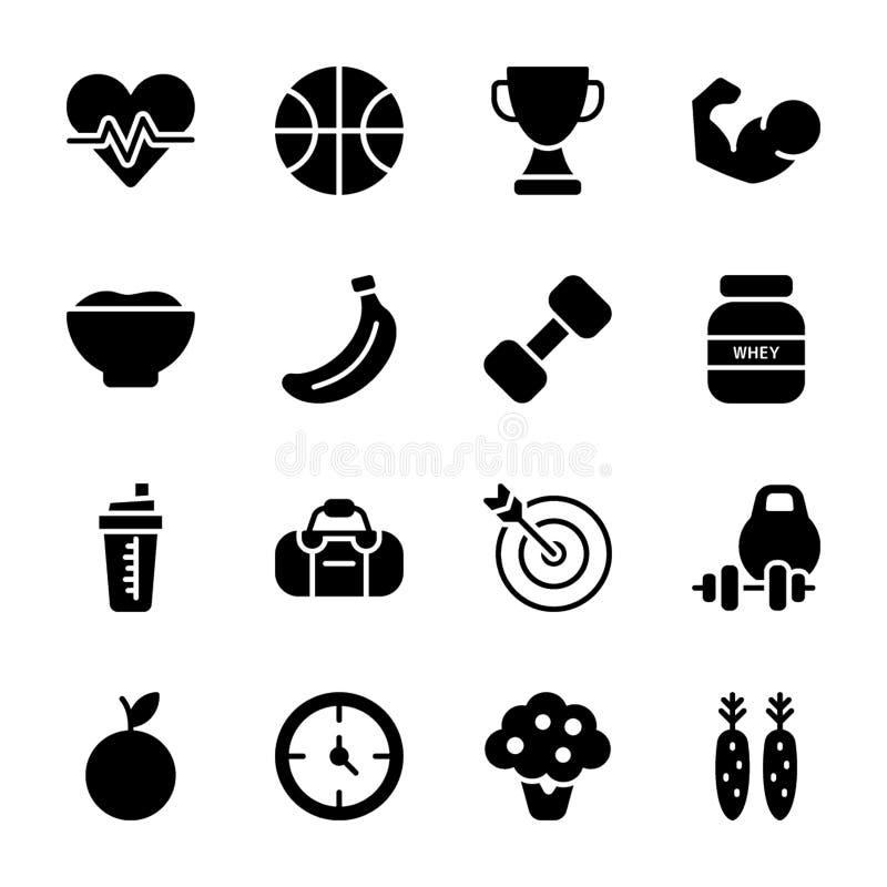 Σχέδιο διατροφής, αθλητικό συμπλήρωμα, εικονίδια διατροφών καθορισμένα διανυσματική απεικόνιση