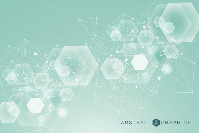 Σχέδιο δικτύων επιστήμης, συνδέοντας γραμμές και σημεία Διάνυσμα σύνδεσης παγκόσμιων δικτύων ελεύθερη απεικόνιση δικαιώματος