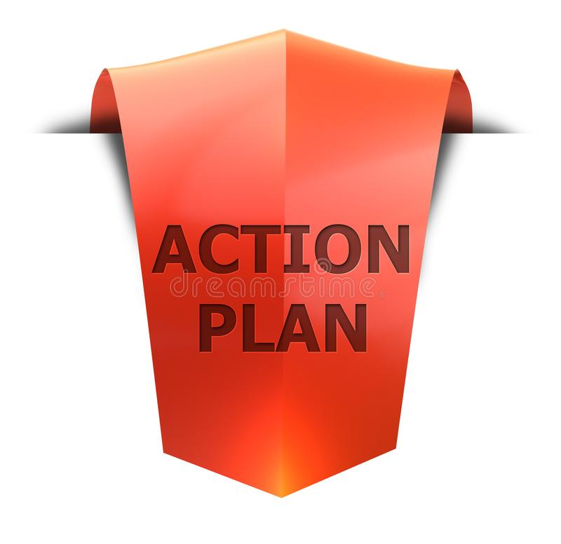 Σχέδιο δράσης εμβλημάτων διανυσματική απεικόνιση