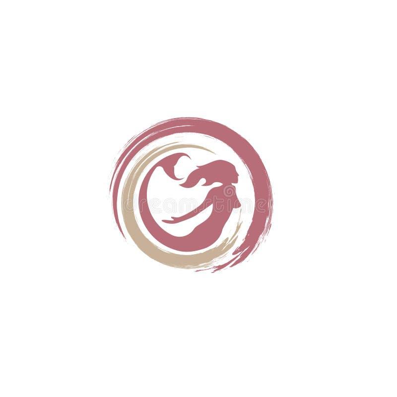 Σχέδιο εικονιδίων λογότυπων γοργόνων, διανυσματική απεικόνιση διανυσματική απεικόνιση σκιαγραφιών γοργόνων Διάνυσμα λογότυπων ουρ διανυσματική απεικόνιση