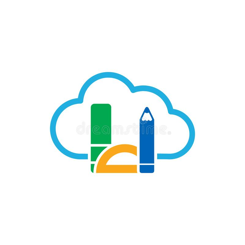 Σχέδιο εικονιδίων λογότυπων εκπαίδευσης σύννεφων στοκ φωτογραφία
