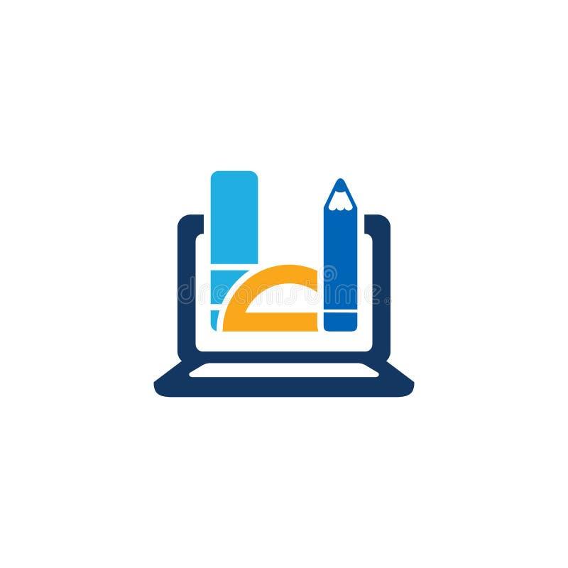 Σχέδιο εικονιδίων λογότυπων εκπαίδευσης lap-top στοκ εικόνες με δικαίωμα ελεύθερης χρήσης