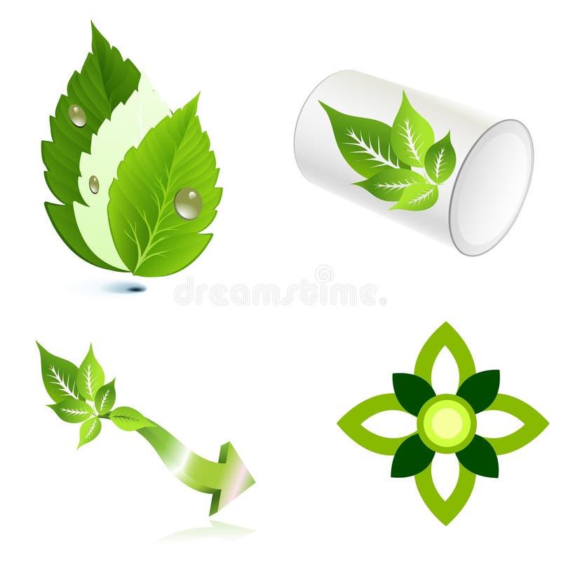 Σχέδιο εικονιδίων λογότυπων οικολογίας φύλλων διανυσματική απεικόνιση