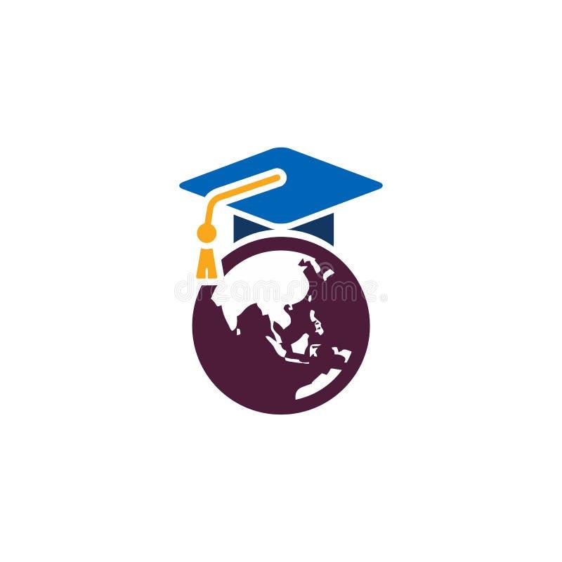 Σχέδιο εικονιδίων λογότυπων παγκόσμιας εκπαίδευσης στοκ εικόνες με δικαίωμα ελεύθερης χρήσης