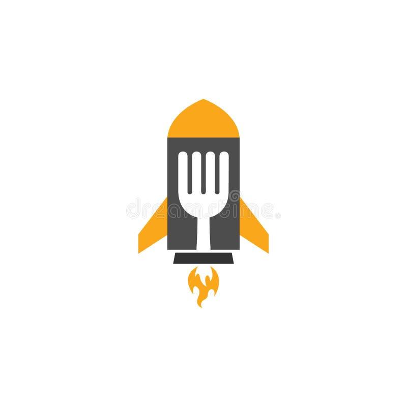 Σχέδιο εικονιδίων λογότυπων τροφίμων πυραύλων διανυσματική απεικόνιση