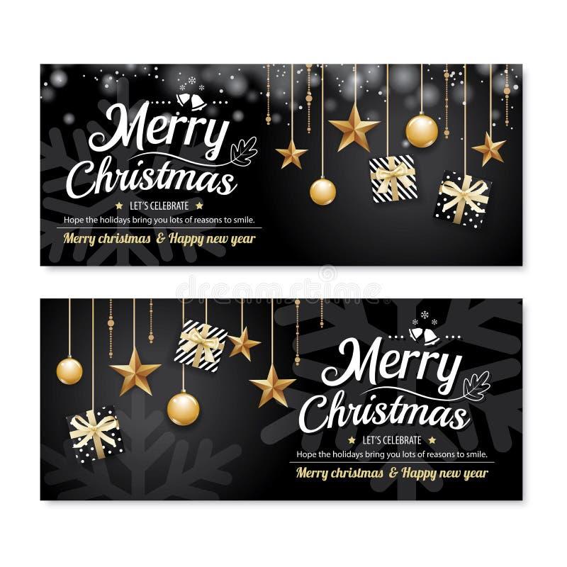Σχέδιο εμβλημάτων αφισών κομμάτων Χαρούμενα Χριστούγεννας ευχετήριων καρτών templat ελεύθερη απεικόνιση δικαιώματος