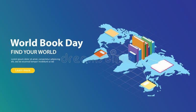 Σχέδιο εμβλημάτων ιστοχώρου ημέρας παγκόσμιων βιβλίων με τους παγκόσμιους χάρτες και δίκτυο βιβλίων στους κόσμους απεικόνιση αποθεμάτων