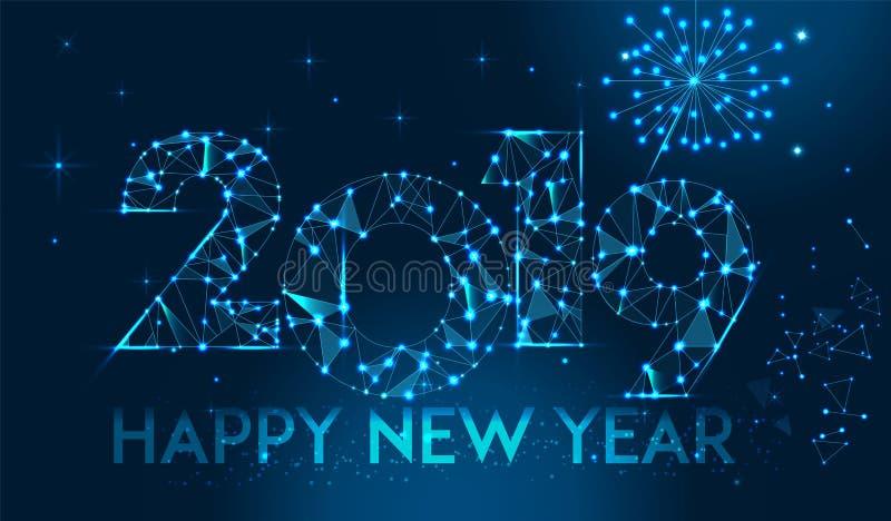 Σχέδιο εμβλημάτων καλής χρονιάς 2019 Γεωμετρική polygonal ευχετήρια κάρτα έτους του 2019 νέα διάνυσμα 8 eps ανασκόπησης πυροτεχνη ελεύθερη απεικόνιση δικαιώματος