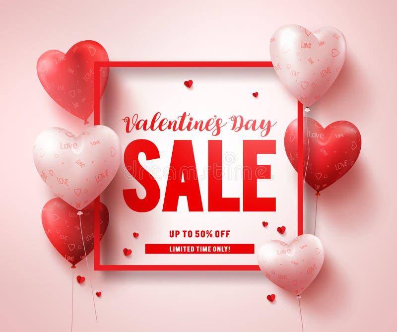 Σχέδιο εμβλημάτων κειμένων πώλησης ημέρας βαλεντίνων με τα κόκκινα μπαλόνια μορφής καρδιών ελεύθερη απεικόνιση δικαιώματος