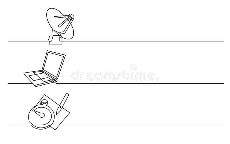 Σχέδιο εμβλημάτων - συνεχές σχέδιο γραμμών των επιχειρησιακών εικονιδίων: δορυφορικό antena, φορητός προσωπικός υπολογιστής, χρον απεικόνιση αποθεμάτων