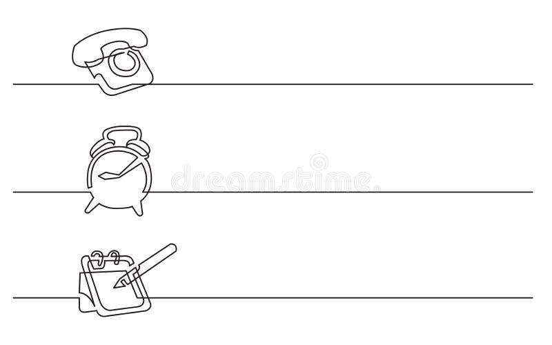 Σχέδιο εμβλημάτων - συνεχές σχέδιο γραμμών των επιχειρησιακών εικονιδίων: τηλέφωνο, ξυπνητήρι, ημερολόγιο απεικόνιση αποθεμάτων