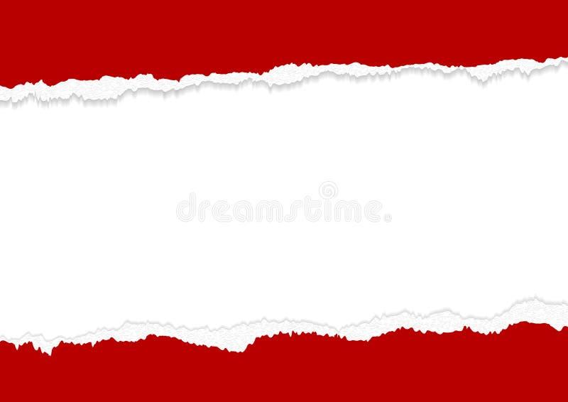 Σχέδιο εμβλημάτων των κόκκινων σχισμένων ακρών εγγράφου στο άσπρο υπόβαθρο με τη διαστημική διανυσματική απεικόνιση αντιγράφων απεικόνιση αποθεμάτων
