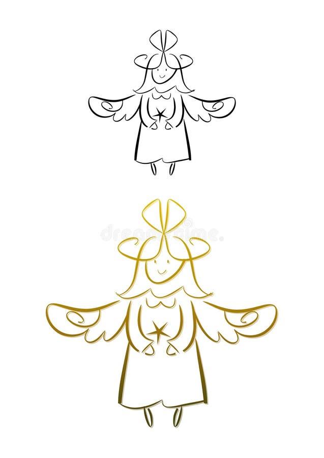 Σχέδιο ενός αγγέλου (χρυσός) απεικόνιση αποθεμάτων