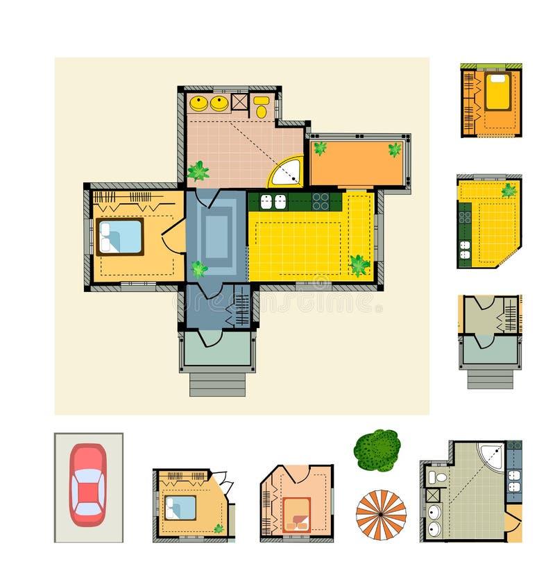 σχέδιο εξοχικών σπιτιών ελεύθερη απεικόνιση δικαιώματος