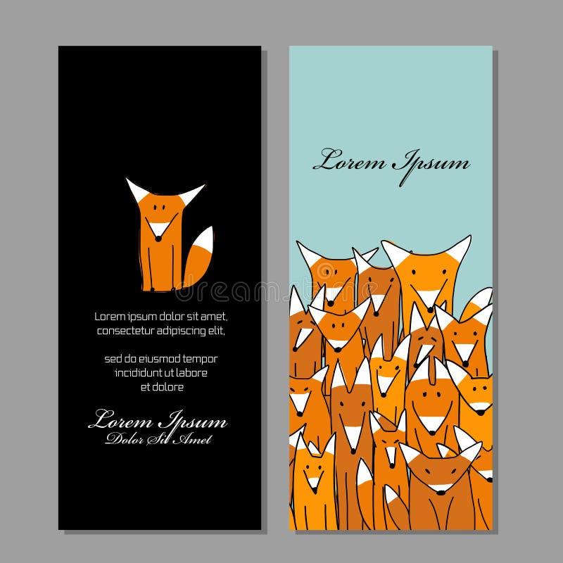 Σχέδιο επαγγελματικών καρτών, αστεία οικογένεια αλεπούδων διανυσματική απεικόνιση