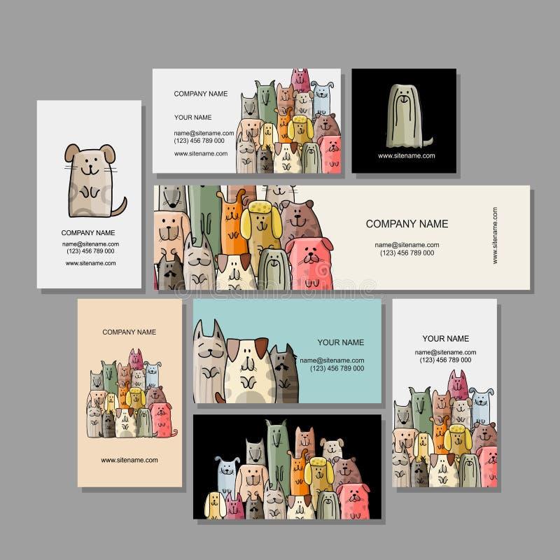 Σχέδιο επαγγελματικών καρτών, αστεία οικογένεια σκυλιών απεικόνιση αποθεμάτων