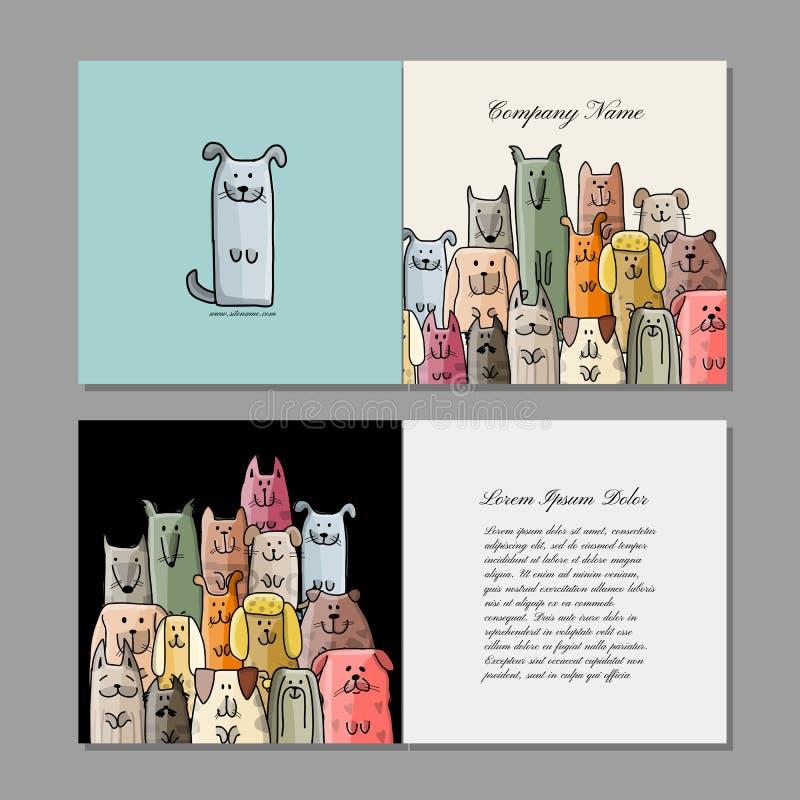 Σχέδιο επαγγελματικών καρτών, αστεία οικογένεια σκυλιών ελεύθερη απεικόνιση δικαιώματος