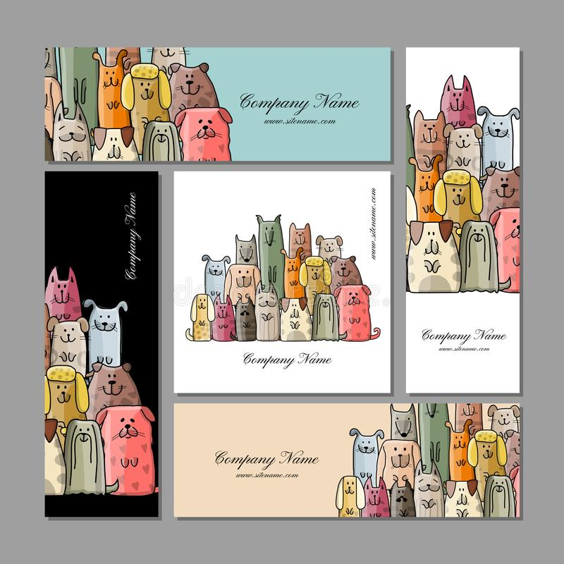 Σχέδιο επαγγελματικών καρτών, αστεία οικογένεια σκυλιών διανυσματική απεικόνιση