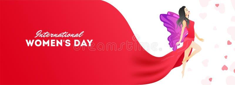 Σχέδιο επιγραφών ή εμβλημάτων εορτασμού ημέρας των διεθνών γυναικών με την απεικόνιση του χαρακτήρα νέων κοριτσιών στην καρδιά πο απεικόνιση αποθεμάτων