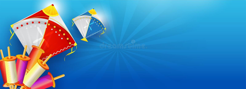 Σχέδιο επιγραφών ή εμβλημάτων ιστοχώρου με την απεικόνιση των ζωηρόχρωμων ικτίνων και των στροφίων σειράς στο μπλε υπόβαθρο ακτίν ελεύθερη απεικόνιση δικαιώματος